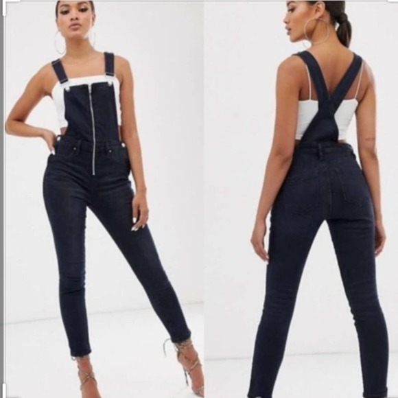 Blank NYC Slim Leg ZIP Front Overalls NWTs 32